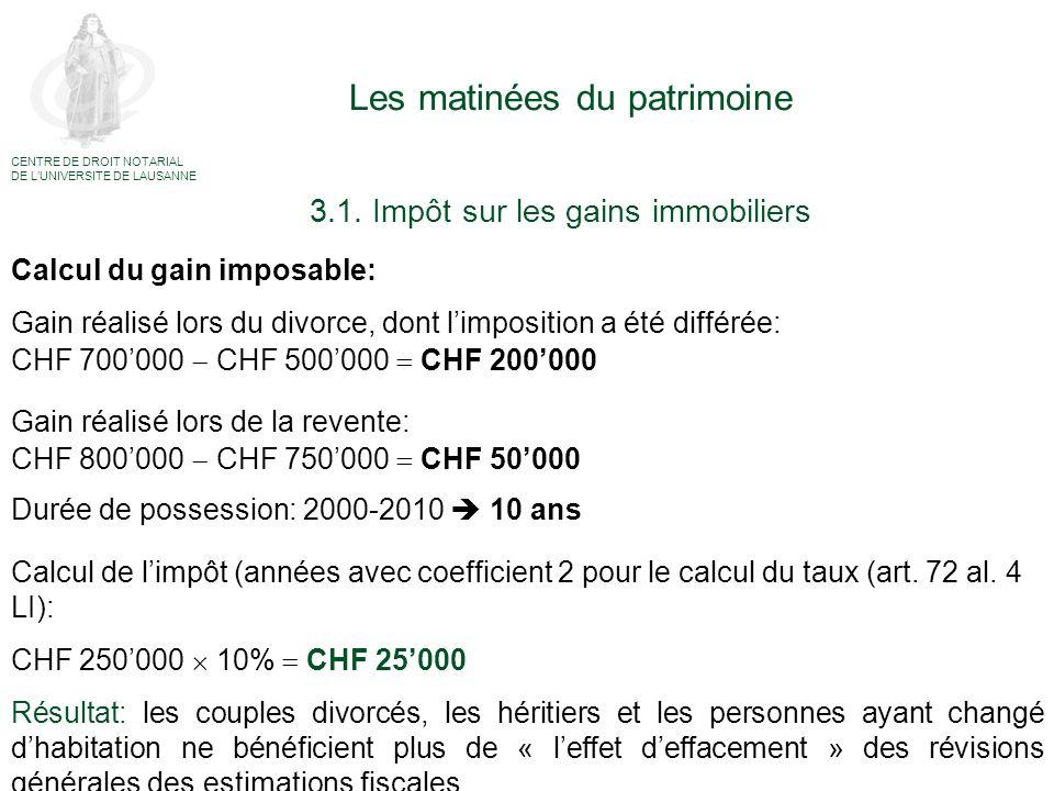 Les matinées du patrimoine Calcul du gain imposable: Gain réalisé lors du divorce, dont limposition a été différée: CHF 700000 CHF 500000 CHF 200000 G