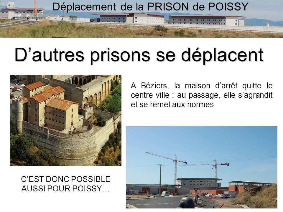 Déplacement de la PRISON de POISSY Dautres prisons se déplacent A Béziers, la maison darrêt quitte le centre ville : au passage, elle sagrandit et se