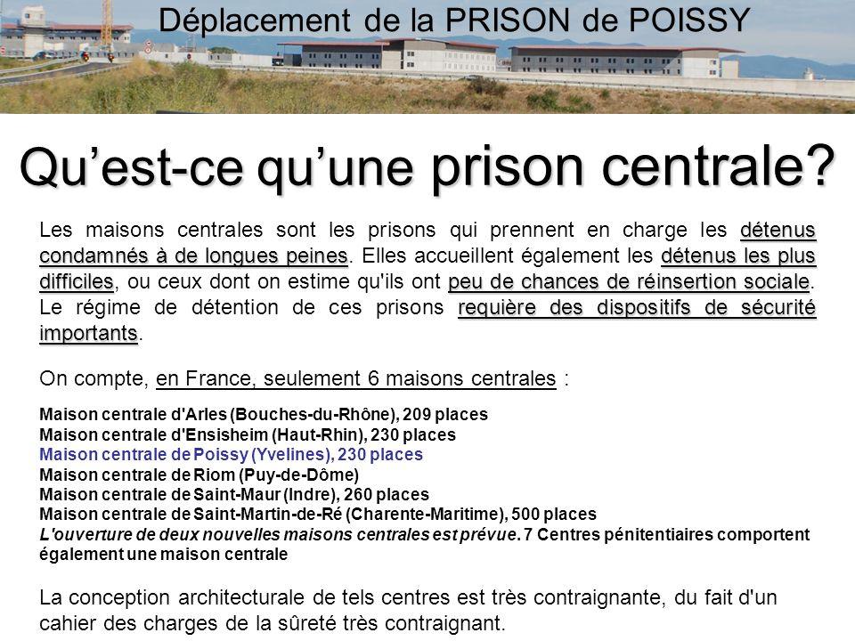 Déplacement de la PRISON de POISSY Quest-ce quune prison centrale? détenus condamnés à de longues peinesdétenus les plus difficilespeu de chances de r
