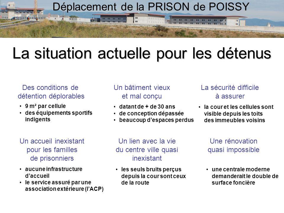 Déplacement de la PRISON de POISSY La situation actuelle pour les détenus Des conditions de détention déplorables Un bâtiment vieux et mal conçu La sé