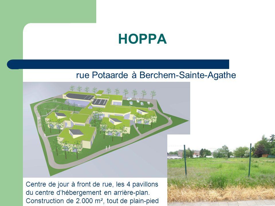 HOPPA Centre de jour à front de rue, les 4 pavillons du centre dhébergement en arrière-plan. Construction de 2.000 m², tout de plain-pied rue Potaarde