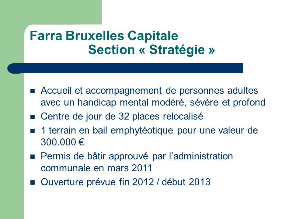 Farra Bruxelles Capitale Section « Stratégie » Accueil et accompagnement de personnes adultes avec un handicap mental modéré, sévère et profond Centre