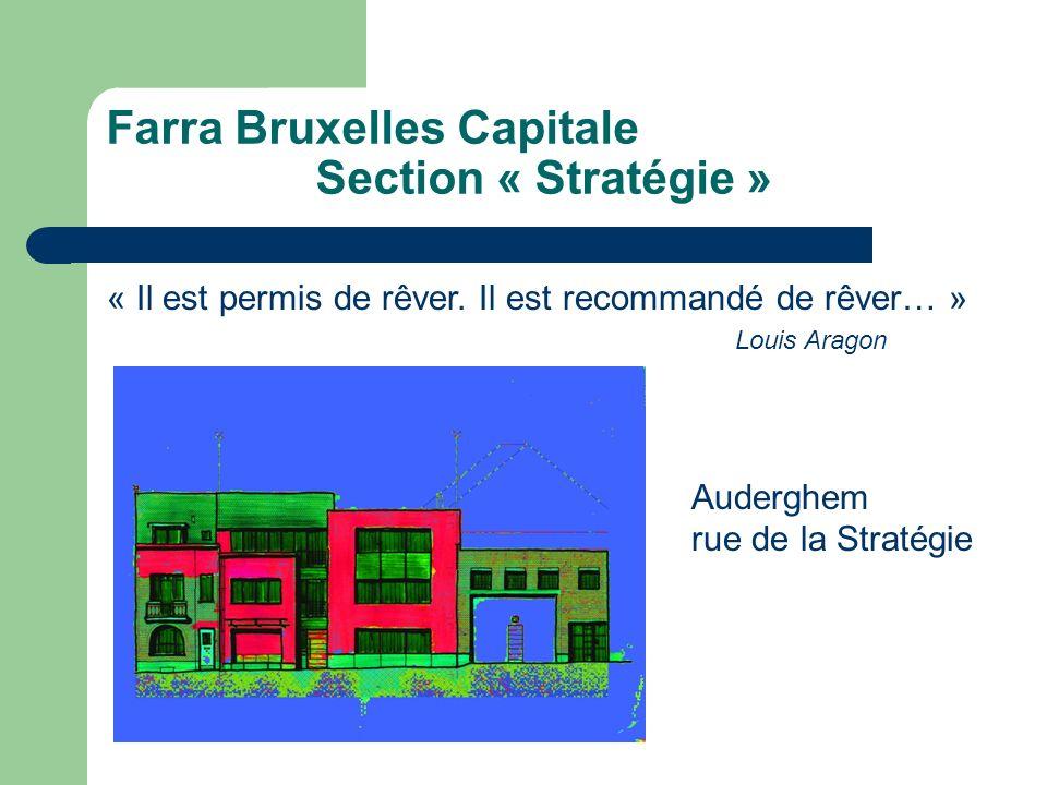 Farra Bruxelles Capitale Section « Stratégie » « Il est permis de rêver. Il est recommandé de rêver… » Louis Aragon Auderghem rue de la Stratégie