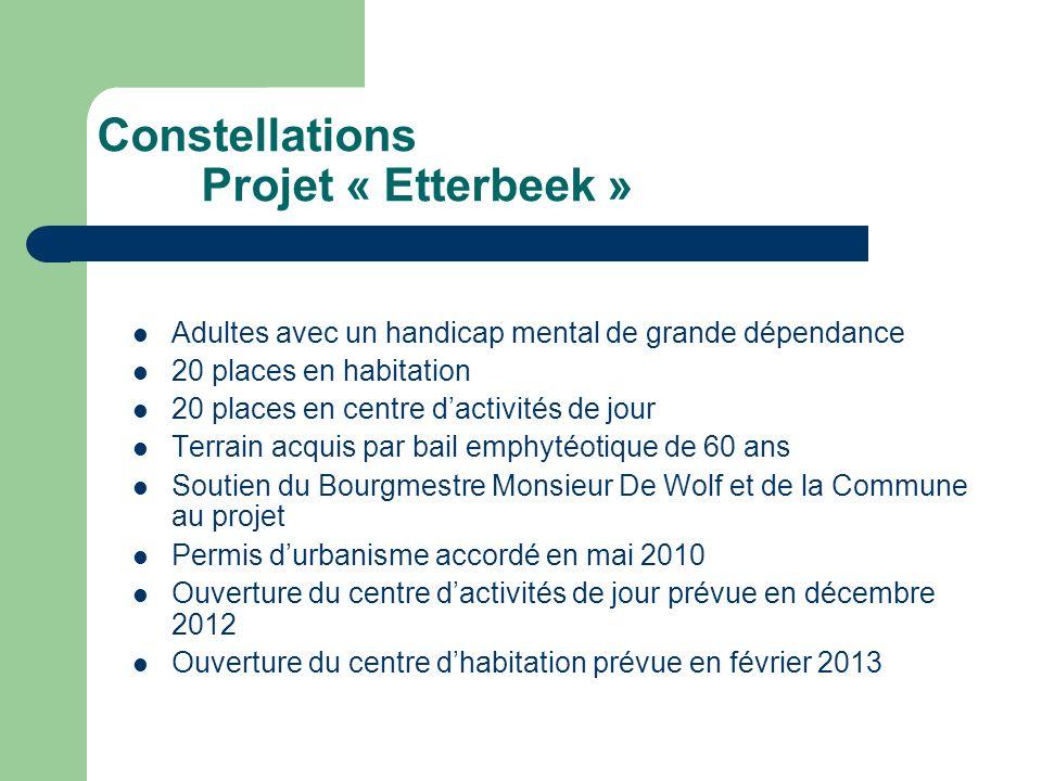 Constellations Projet « Etterbeek » Adultes avec un handicap mental de grande dépendance 20 places en habitation 20 places en centre dactivités de jou
