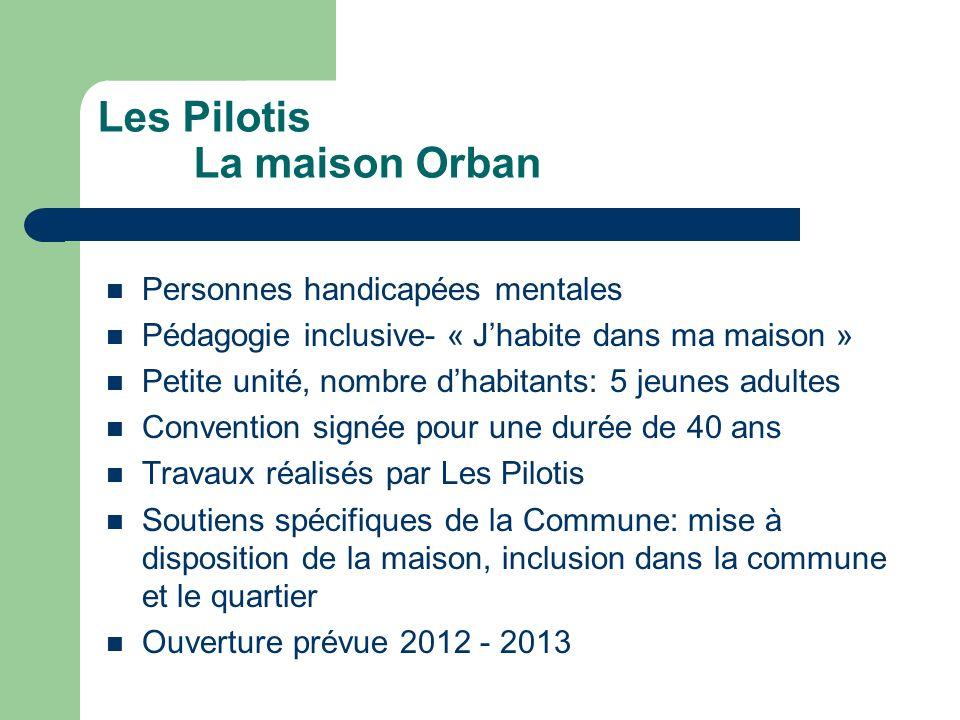 Les Pilotis La maison Orban Personnes handicapées mentales Pédagogie inclusive- « Jhabite dans ma maison » Petite unité, nombre dhabitants: 5 jeunes a
