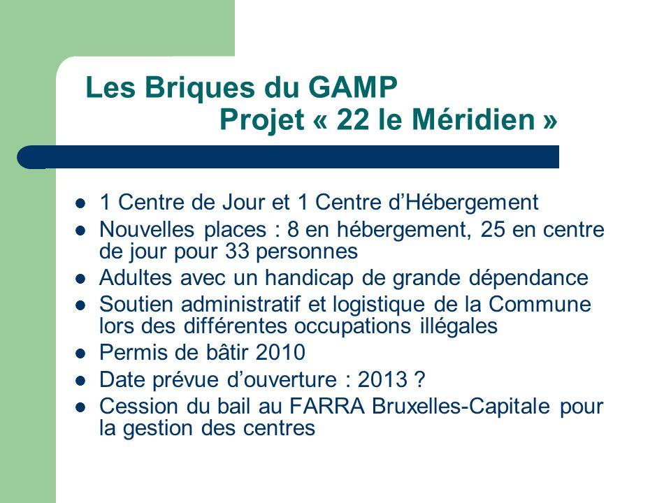 Les Briques du GAMP Projet « 22 le Méridien » 1 Centre de Jour et 1 Centre dHébergement Nouvelles places : 8 en hébergement, 25 en centre de jour pour