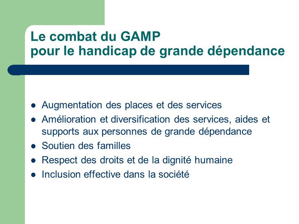 Le combat du GAMP pour le handicap de grande dépendance Augmentation des places et des services Amélioration et diversification des services, aides et