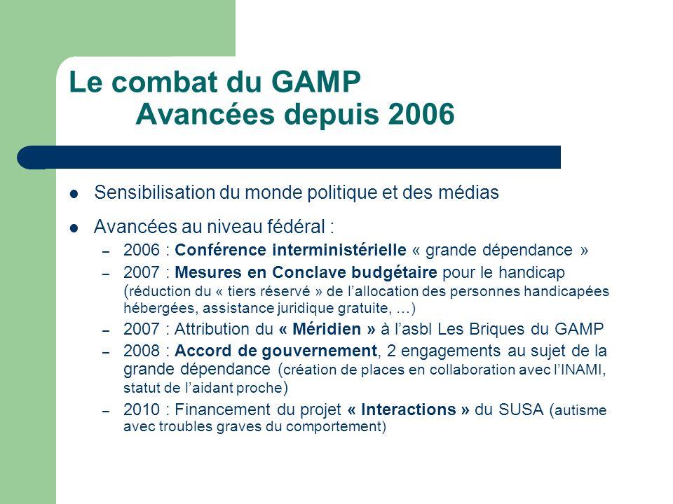 Le combat du GAMP Avancées depuis 2006 Sensibilisation du monde politique et des médias Avancées au niveau fédéral : – 2006 : Conférence interministér