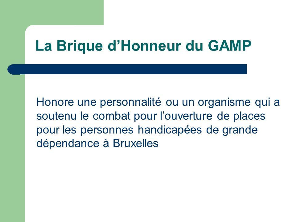 Honore une personnalité ou un organisme qui a soutenu le combat pour louverture de places pour les personnes handicapées de grande dépendance à Bruxel