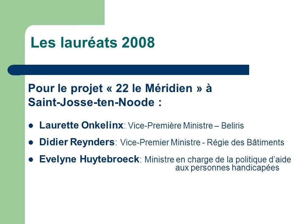 Les lauréats 2008 Pour le projet « 22 le Méridien » à Saint-Josse-ten-Noode : Laurette Onkelinx : Vice-Première Ministre – Beliris Didier Reynders : V