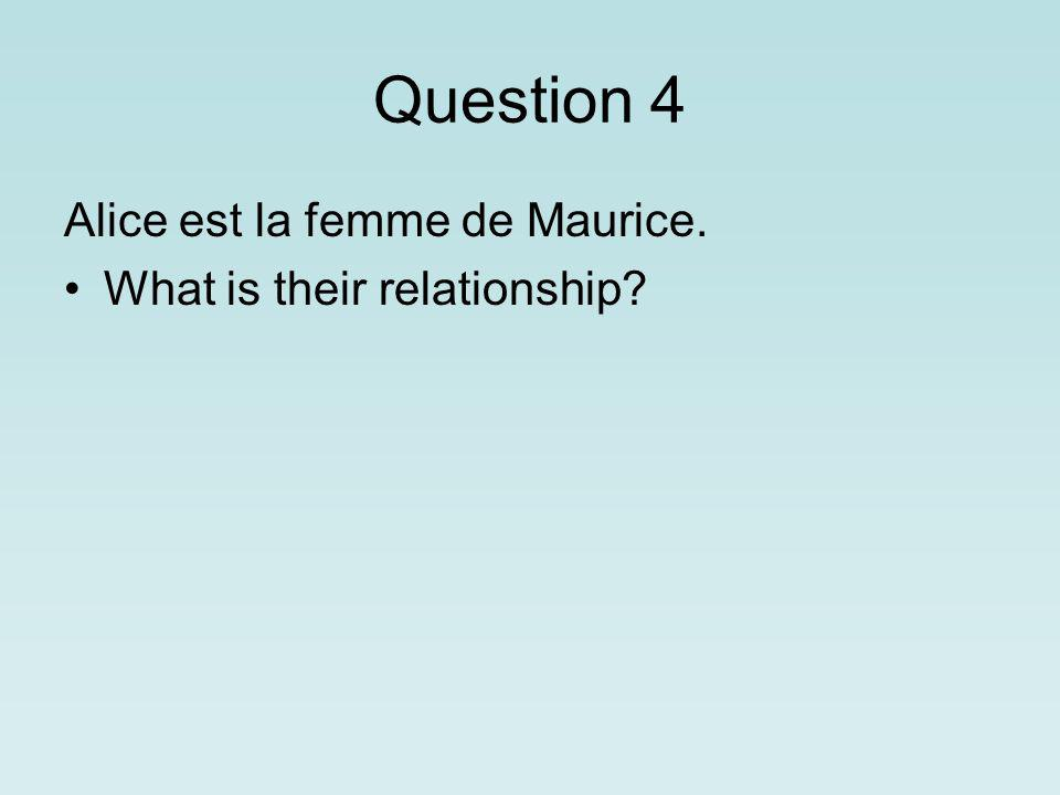 Question 4 Alice est la femme de Maurice. What is their relationship