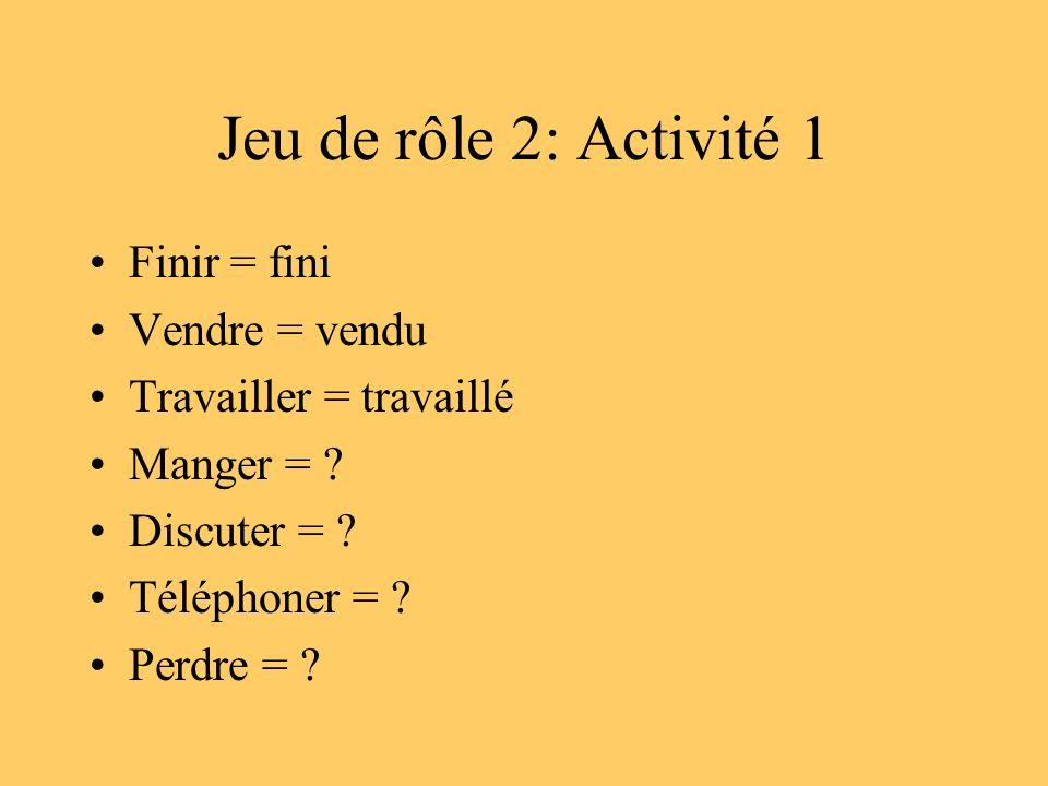 Jeu de rôle 2: Activité 1 Finir = fini Vendre = vendu Travailler = travaillé Manger = ? Discuter = ? Téléphoner = ? Perdre = ?