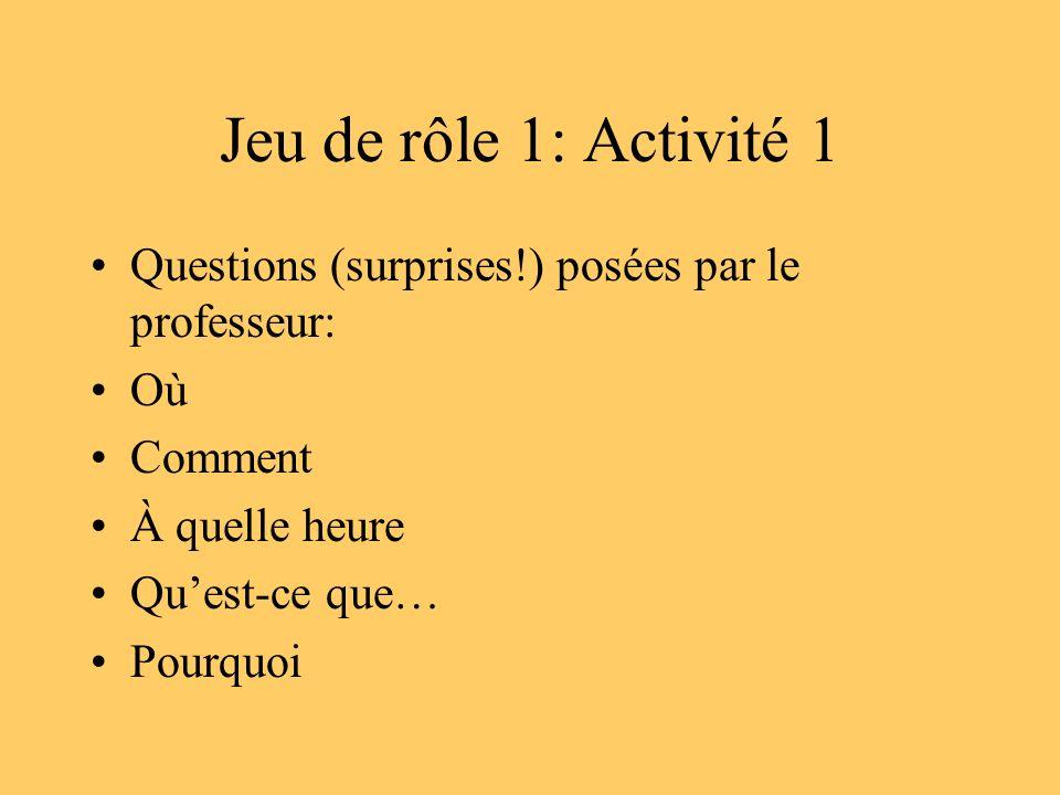 Jeu de rôle 1: Activité 1 Questions (surprises!) posées par le professeur: Où Comment À quelle heure Quest-ce que… Pourquoi