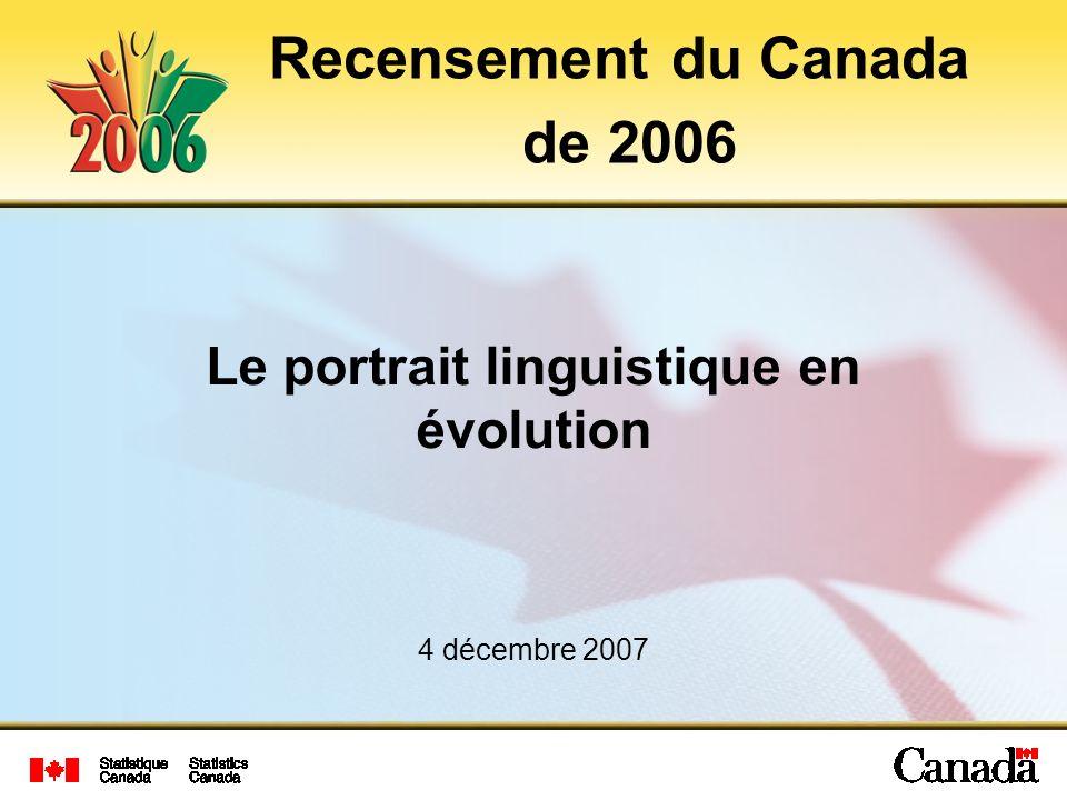 Le portrait linguistique en évolution 4 décembre 2007 Recensement du Canada de 2006
