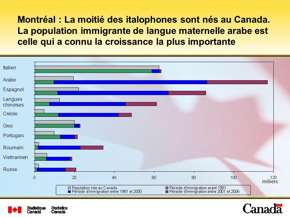 Montréal : La moitié des italophones sont nés au Canada. La population immigrante de langue maternelle arabe est celle qui a connu la croissance la pl