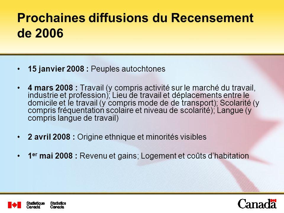 Prochaines diffusions du Recensement de 2006 15 janvier 2008 : Peuples autochtones 4 mars 2008 : Travail (y compris activité sur le marché du travail,