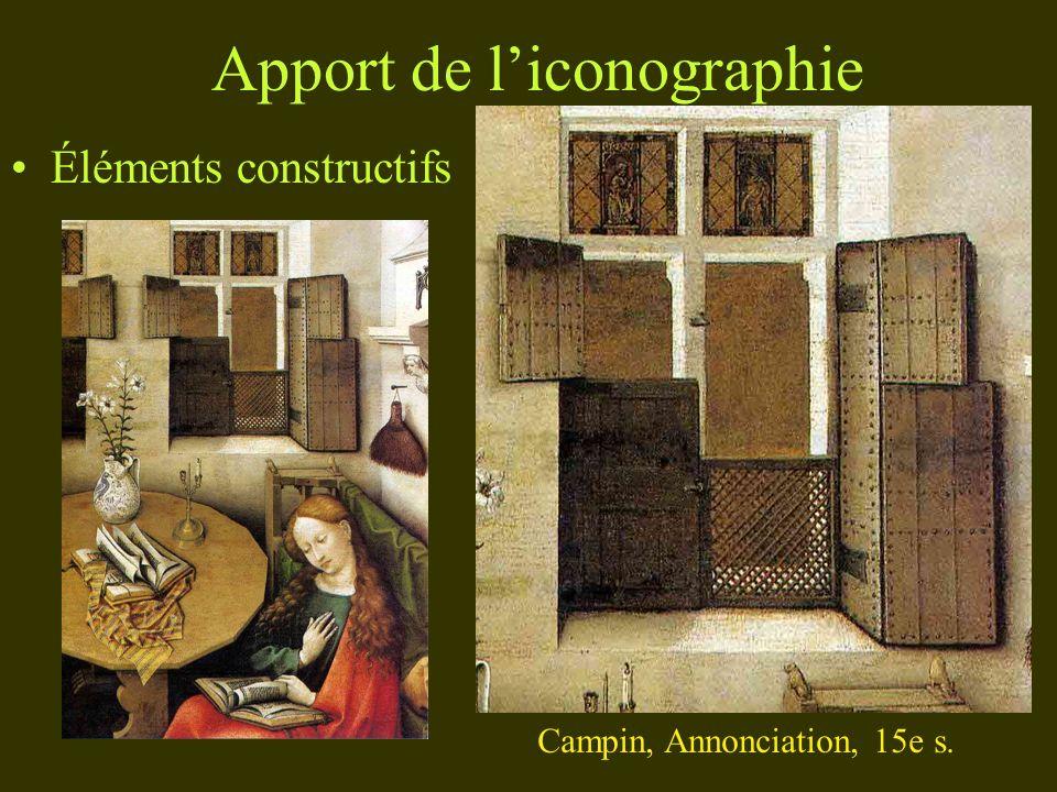 Apport de liconographie Éléments constructifs Campin, Annonciation, 15e s.