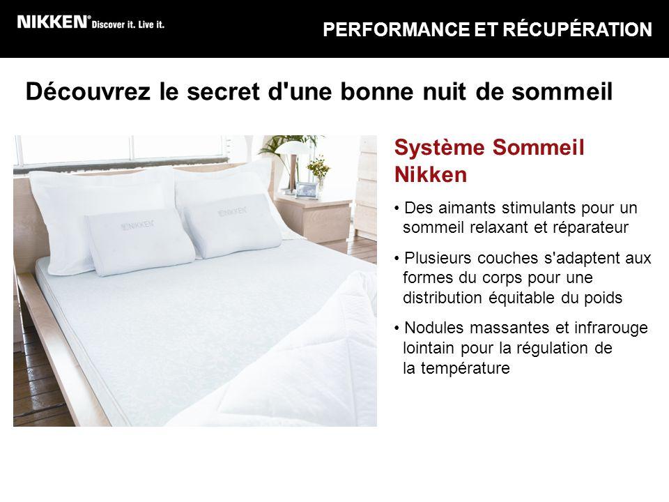 PERFORMANCE ET RÉCUPÉRATION Système Sommeil Nikken Des aimants stimulants pour un sommeil relaxant et réparateur Plusieurs couches s'adaptent aux form