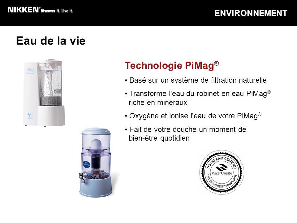 Eau de la vie Technologie PiMag ® Basé sur un système de filtration naturelle Transforme l'eau du robinet en eau PiMag ® riche en minéraux Oxygène et