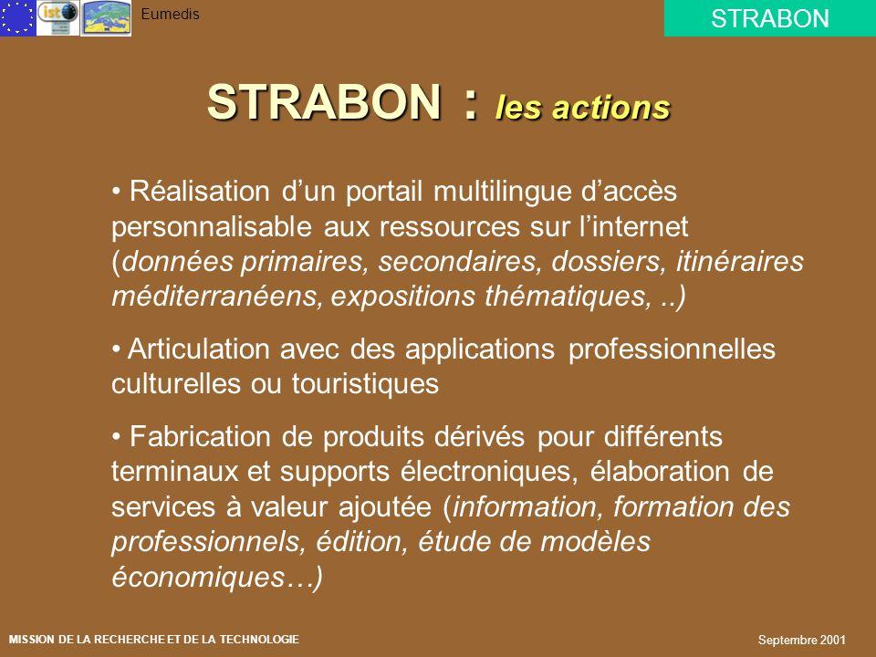 STRABON Eumedis MISSION DE LA RECHERCHE ET DE LA TECHNOLOGIE Septembre 2001 STRABON : les objectifs Produire et diffuser des contenus numériques issus