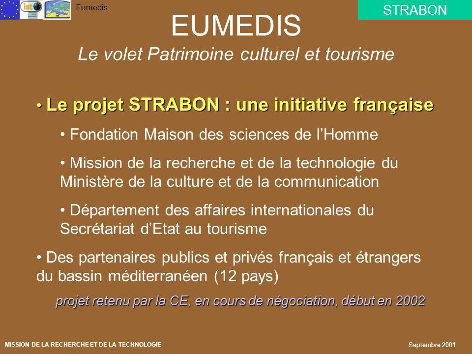 STRABON Eumedis MISSION DE LA RECHERCHE ET DE LA TECHNOLOGIE Septembre 2001 EUMEDIS : développer la société de linformation en Méditerranée Déclaratio
