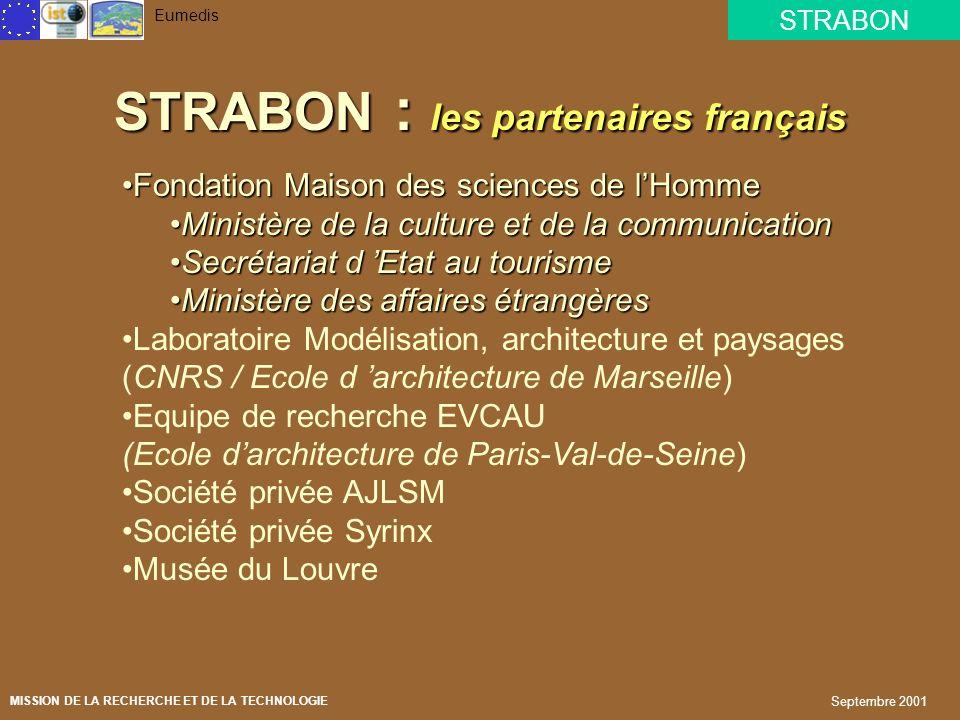STRABON Eumedis MISSION DE LA RECHERCHE ET DE LA TECHNOLOGIE Septembre 2001 LEXPERIENCE FRANCAISE Fondation Maison des sciences de lHomme Fondation Ma