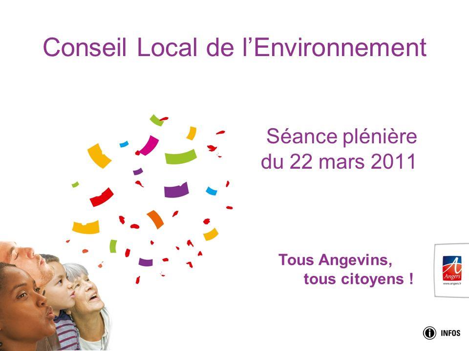 Tous Angevins, tous citoyens ! Conseil Local de lEnvironnement Séance plénière du 22 mars 2011