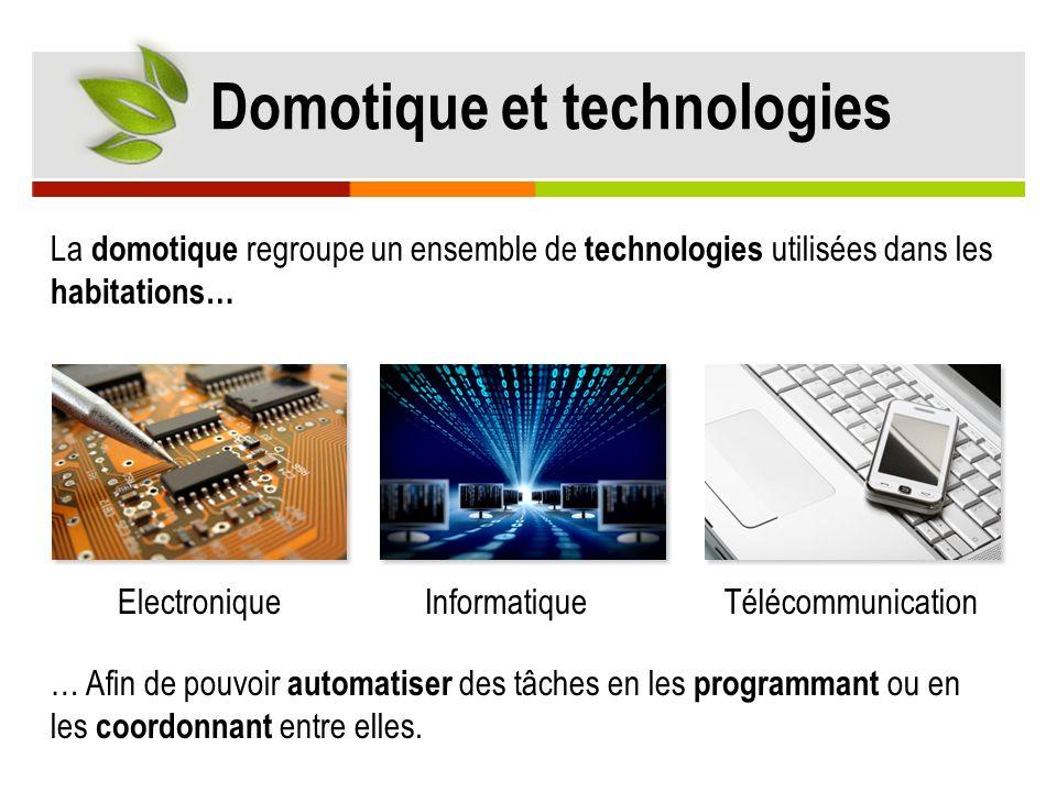 La domotique regroupe un ensemble de technologies utilisées dans les habitations… Domotique et technologies ElectroniqueInformatiqueTélécommunication