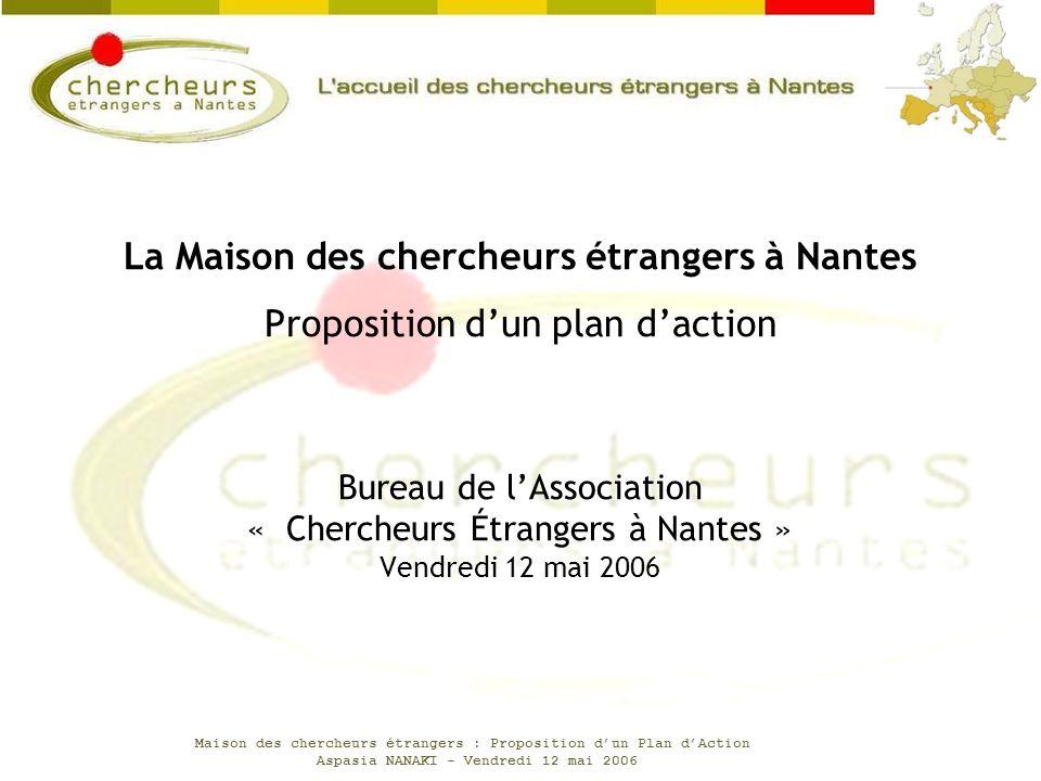 Maison des chercheurs étrangers : Proposition dun Plan dAction Aspasia NANAKI - Vendredi 12 mai 2006 Bureau de lAssociation « Chercheurs Étrangers à N