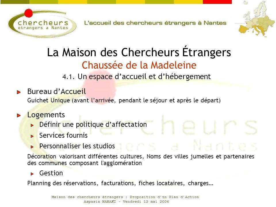Maison des chercheurs étrangers : Proposition dun Plan dAction Aspasia NANAKI - Vendredi 12 mai 2006 Bureau dAccueil Guichet Unique (avant larrivée, p
