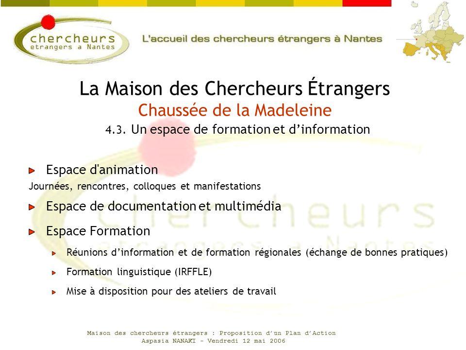Maison des chercheurs étrangers : Proposition dun Plan dAction Aspasia NANAKI - Vendredi 12 mai 2006 Espace d'animation Journées, rencontres, colloque