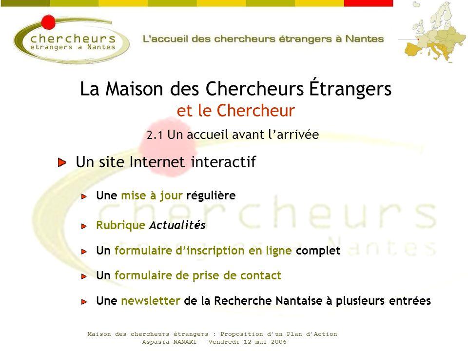 Maison des chercheurs étrangers : Proposition dun Plan dAction Aspasia NANAKI - Vendredi 12 mai 2006 Un site Internet interactif Une mise à jour régul