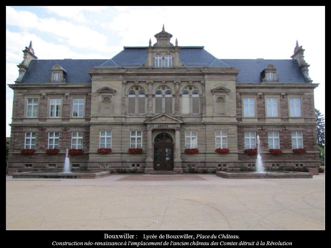 Bouxwiller : Lycée de Bouxwiller, Place du Château. Construction néo-renaissance à l'emplacement de l'ancien châreau des Comtes détruit à la Révolutio