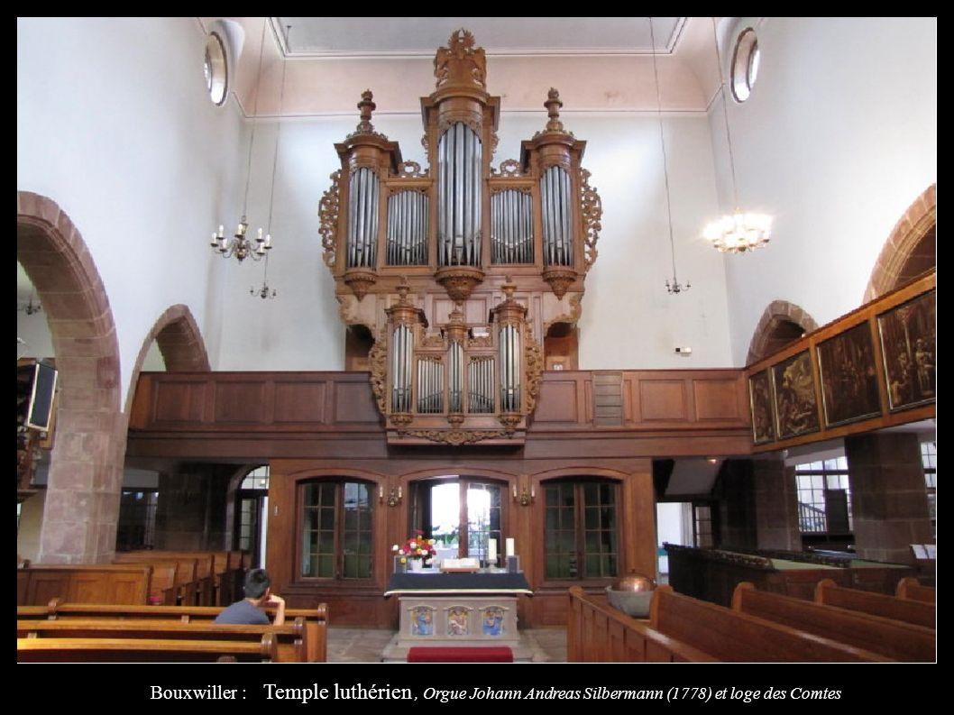 Bouxwiller : Temple luthérien, Orgue Johann Andreas Silbermann (1778) et loge des Comtes