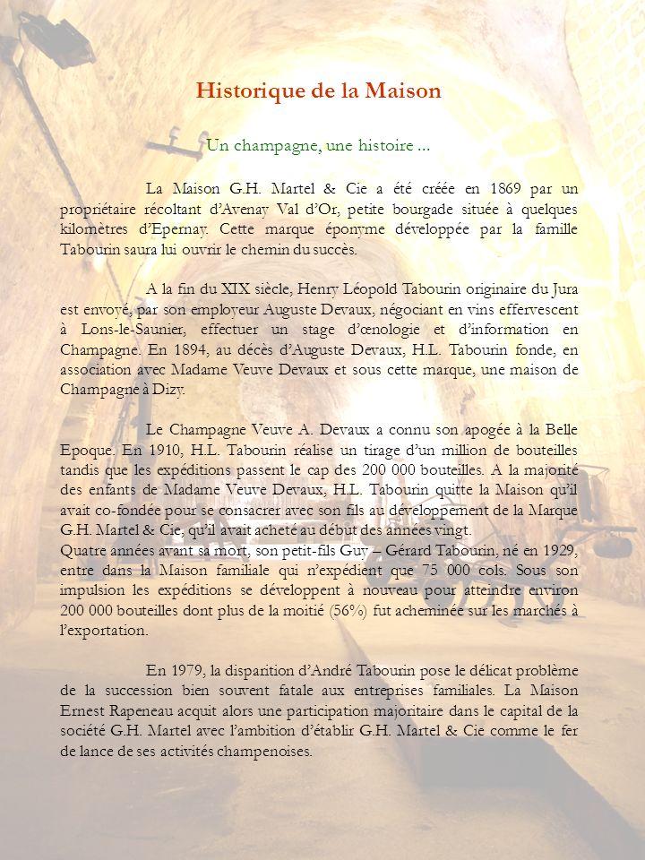 Historique de la Maison Un champagne, une histoire... La Maison G.H. Martel & Cie a été créée en 1869 par un propriétaire récoltant dAvenay Val dOr, p