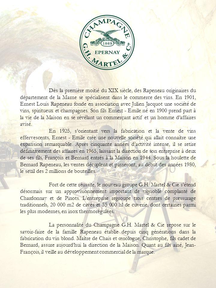 Dès la première moitié du XIX siècle, des Rapeneau originaires du département de la Marne se spécialisent dans le commerce des vins. En 1901, Ernest L