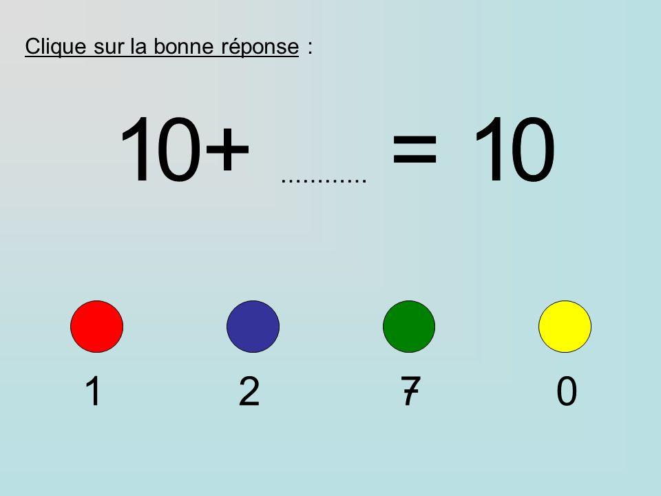 Clique sur la bonne réponse : 1+=10 ………… 1270 1+=10 0
