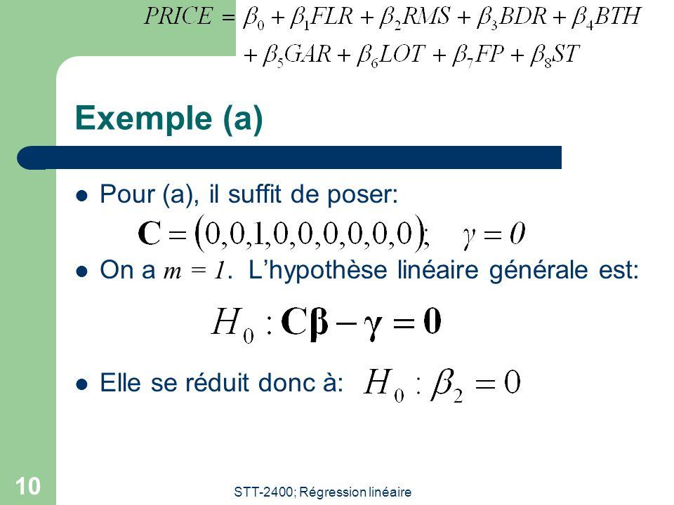 STT-2400; Régression linéaire 10 Exemple (a) Pour (a), il suffit de poser: On a m = 1. Lhypothèse linéaire générale est: Elle se réduit donc à: