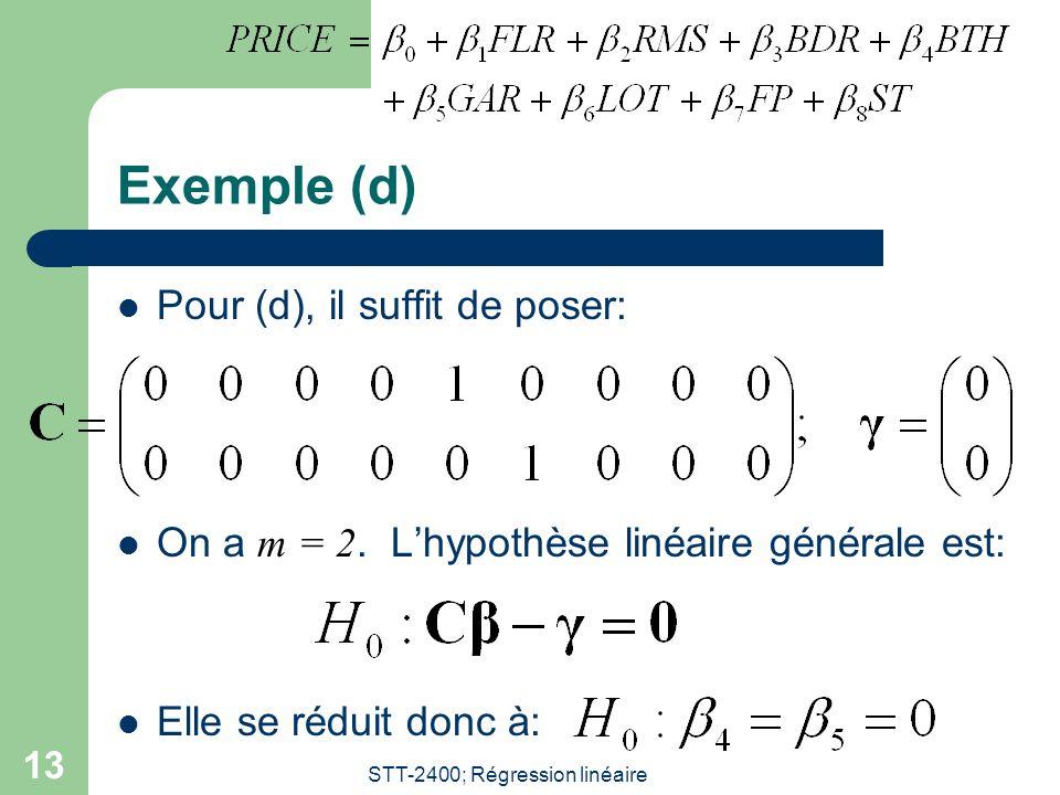 STT-2400; Régression linéaire 13 Exemple (d) Pour (d), il suffit de poser: On a m = 2.