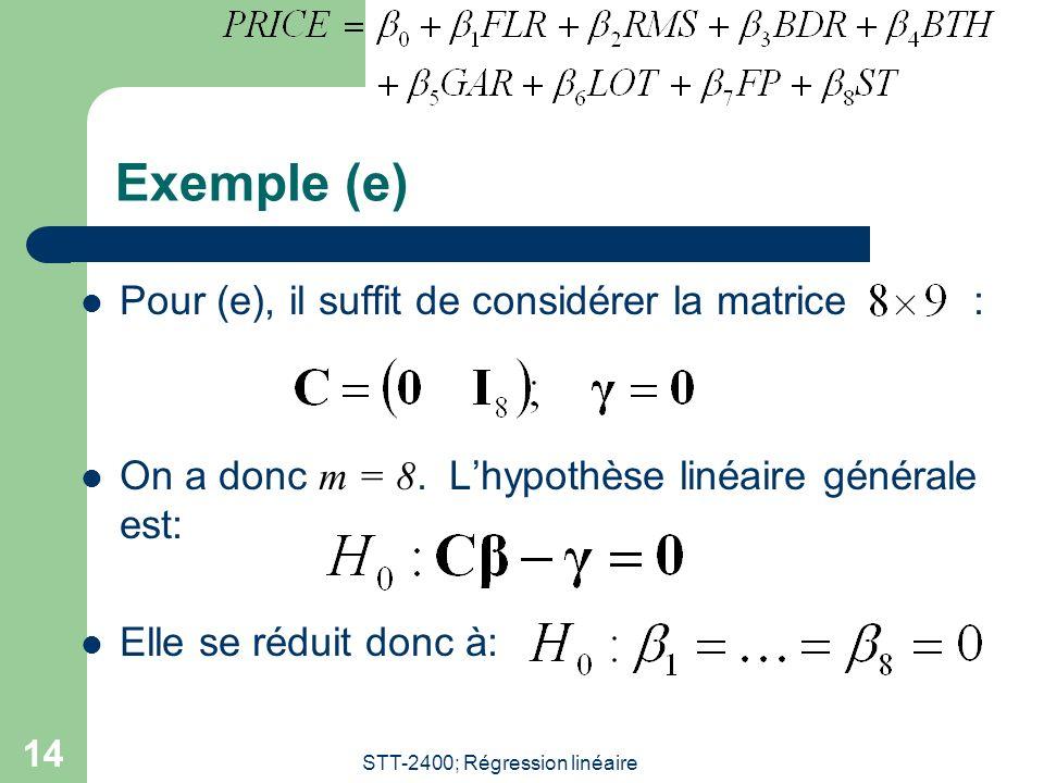 STT-2400; Régression linéaire 14 Exemple (e) Pour (e), il suffit de considérer la matrice : On a donc m = 8. Lhypothèse linéaire générale est: Elle se
