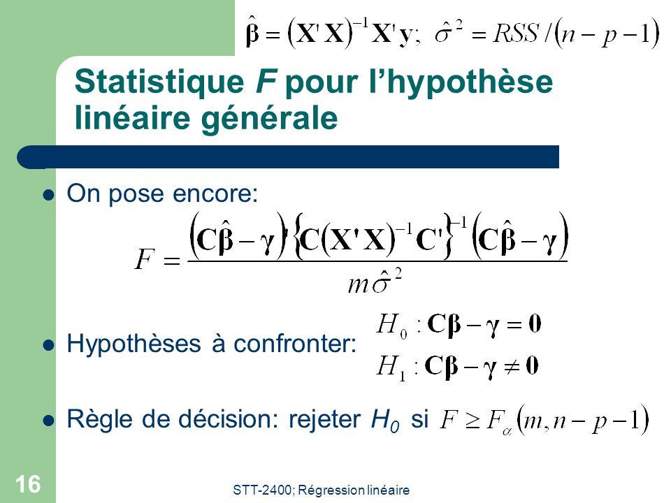 STT-2400; Régression linéaire 16 Statistique F pour lhypothèse linéaire générale On pose encore: Hypothèses à confronter: Règle de décision: rejeter H 0 si