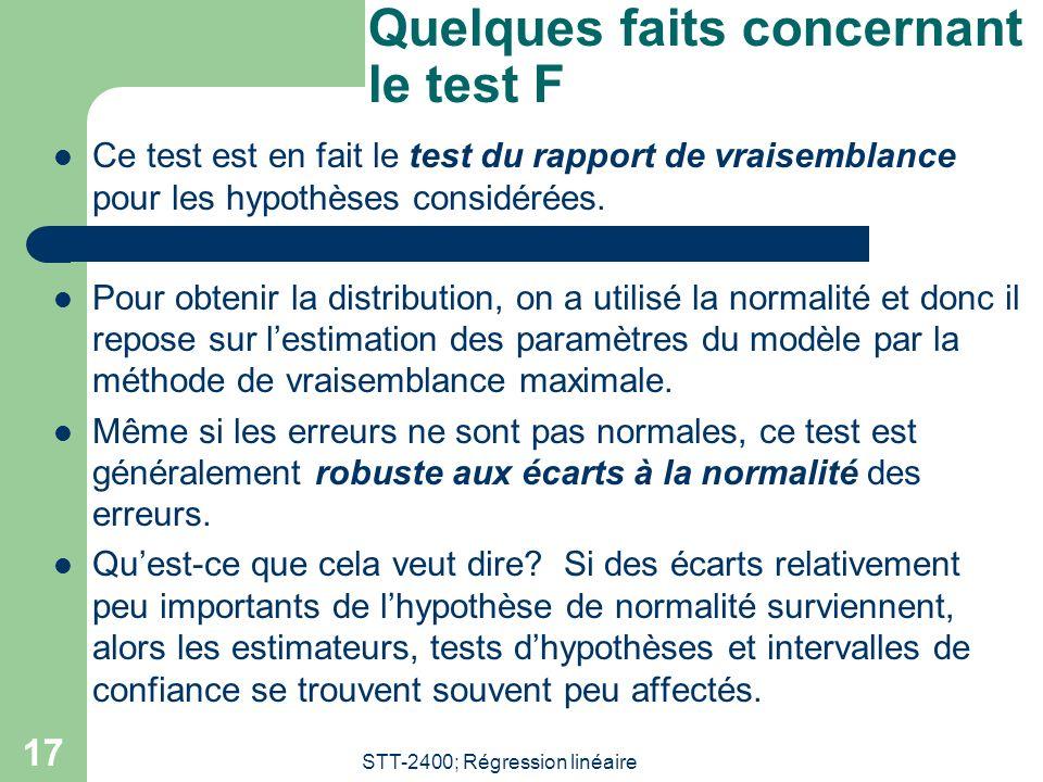 STT-2400; Régression linéaire 17 Quelques faits concernant le test F Ce test est en fait le test du rapport de vraisemblance pour les hypothèses consi