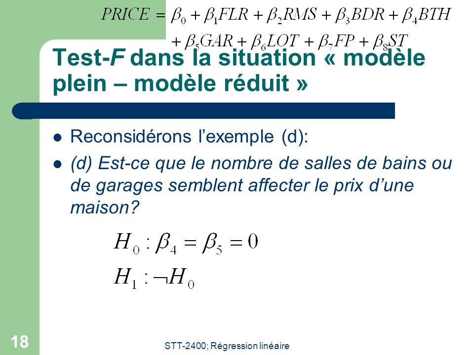 STT-2400; Régression linéaire 18 Test-F dans la situation « modèle plein – modèle réduit » Reconsidérons lexemple (d): (d) Est-ce que le nombre de salles de bains ou de garages semblent affecter le prix dune maison?