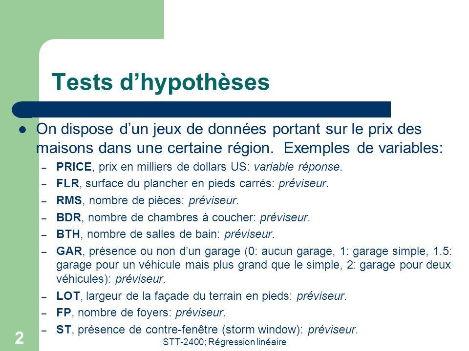 STT-2400; Régression linéaire 2 Tests dhypothèses On dispose dun jeux de données portant sur le prix des maisons dans une certaine région.