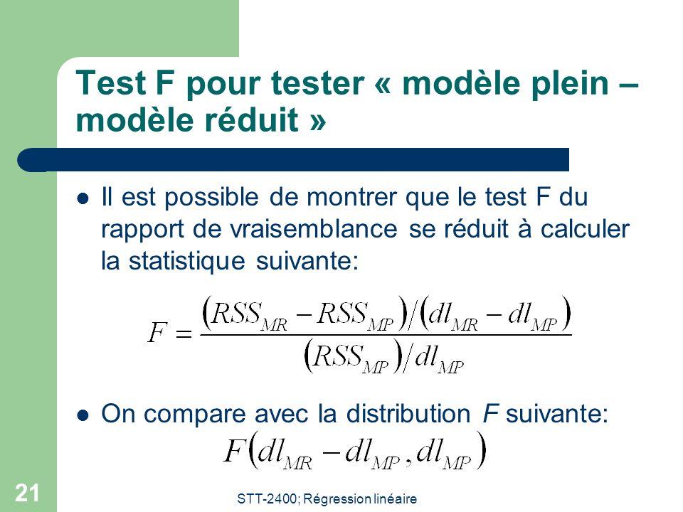 STT-2400; Régression linéaire 21 Test F pour tester « modèle plein – modèle réduit » Il est possible de montrer que le test F du rapport de vraisemblance se réduit à calculer la statistique suivante: On compare avec la distribution F suivante: