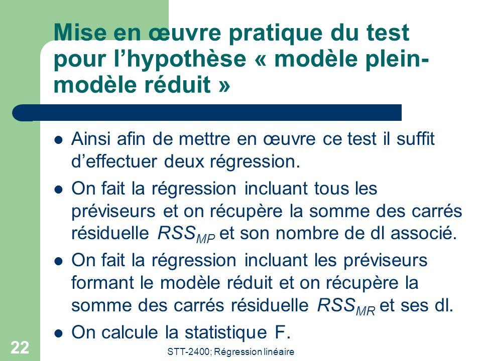 STT-2400; Régression linéaire 22 Mise en œuvre pratique du test pour lhypothèse « modèle plein- modèle réduit » Ainsi afin de mettre en œuvre ce test il suffit deffectuer deux régression.