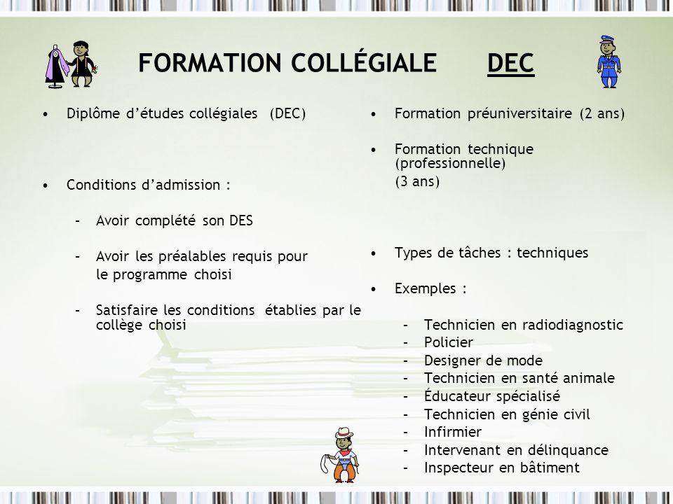 FORMATION COLLÉGIALE DEC Diplôme détudes collégiales (DEC) Conditions dadmission : –Avoir complété son DES –Avoir les préalables requis pour le progra
