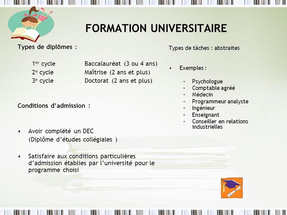 FORMATION UNIVERSITAIRE Types de diplômes : 1 er cycle Baccalauréat (3 ou 4 ans) 2 e cycle Maîtrise (2 ans et plus) 3 e cycle Doctorat (2 ans et plus)