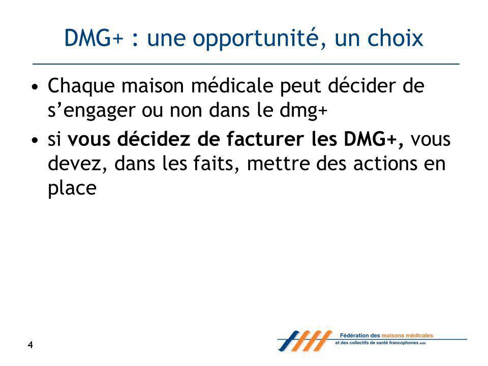 DMG+ : une opportunité, un choix Chaque maison médicale peut décider de sengager ou non dans le dmg+ si vous décidez de facturer les DMG+, vous devez, dans les faits, mettre des actions en place 4