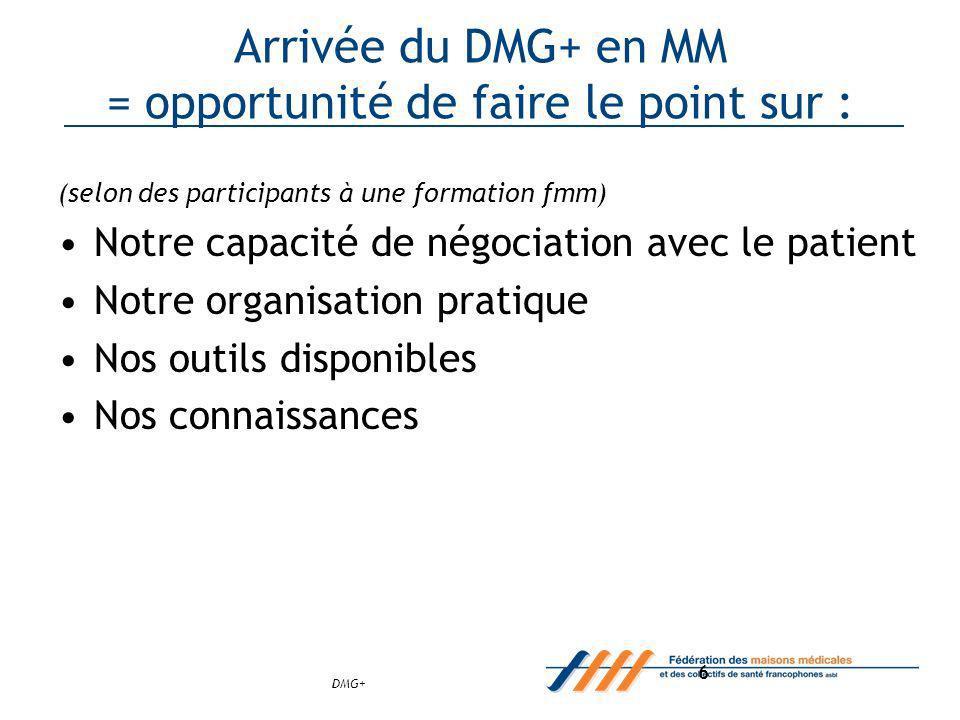 DMG+ 6 Arrivée du DMG+ en MM = opportunité de faire le point sur : (selon des participants à une formation fmm) Notre capacité de négociation avec le patient Notre organisation pratique Nos outils disponibles Nos connaissances
